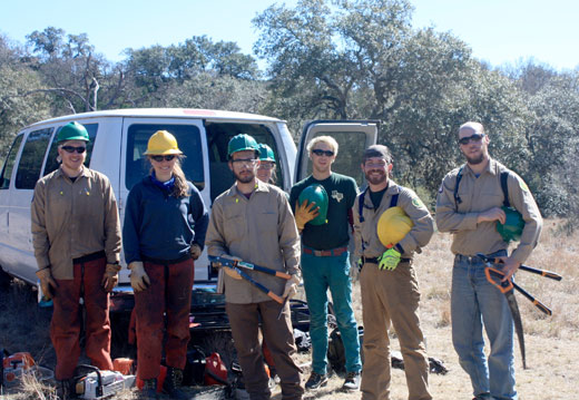A Texas Conservation Crops crew prepares to conduct a selective brush clearing to improve wildlife habitat on the Shield Ranch.